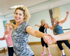 Guests enjoying a dance fitness class