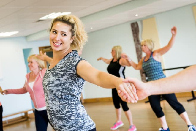 Guests taking part in Ragdale Hall's dance fitness class