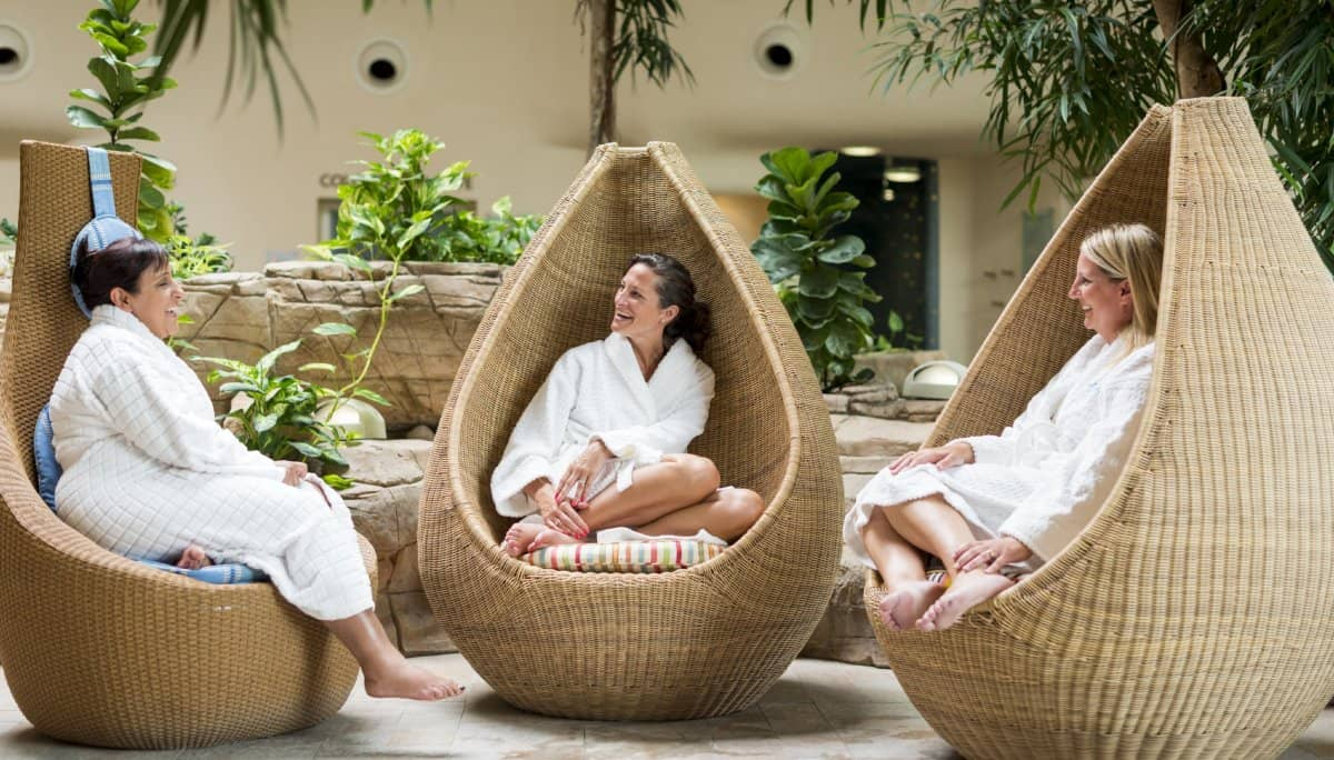 Ladies Laughing as they relax at Ragdale Hall Spa
