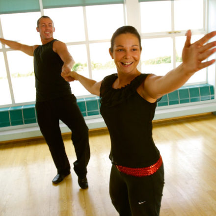 Couple taking part in a dance fitness class at Ragdale Hall