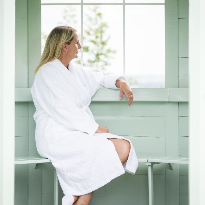 Guest relaxing in summer house at Ragdale Hall