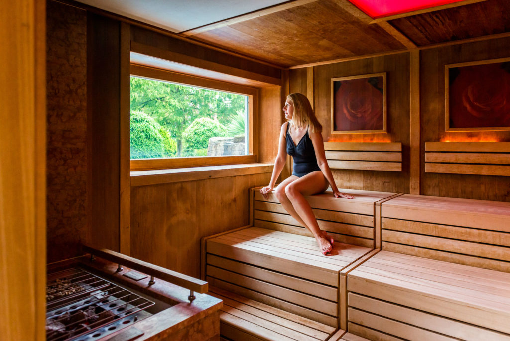 Guest relaxing in Sauna at Ragdale Hall Spa
