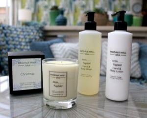 Ragdale Hall's own brand products, consisting of candle, hand lotion and soap