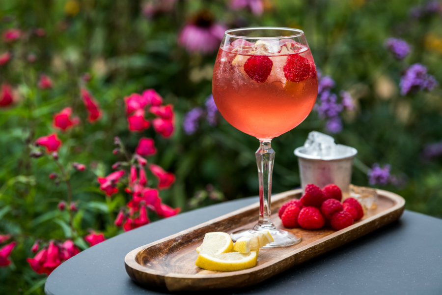 Cocktail served at Ragdale Hall with raspberries and lemon