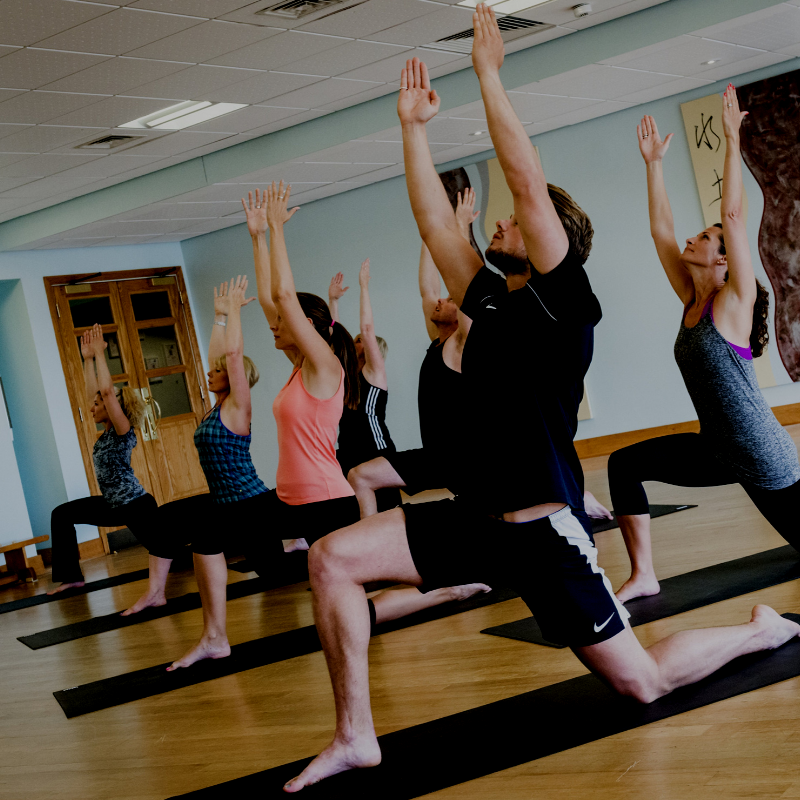 Guests enjoying a yoga fitness class