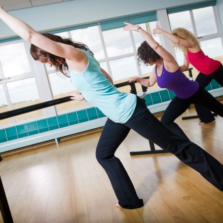Ballet barre class during fitness spas break