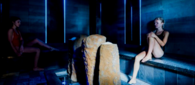 Two ladies in Volcanic Salt Room in the Thermal Spa