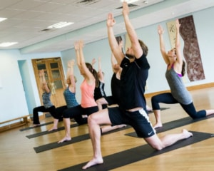 Guests in a pilates fitness class