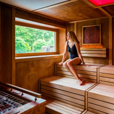 Guest relaxing in sauna at Ragdale Hall