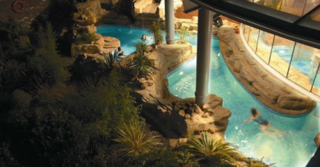 Thermal Spa pool at night