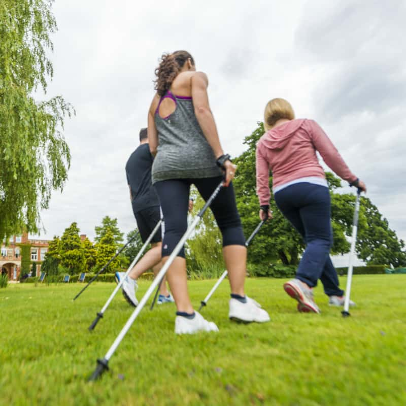 Guests enjoying a nordic walk fitness class