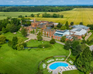 Ragdale Hall aerial view with outdoor pool