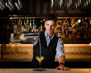Bartender creating a cocktail in the Twilight Bar