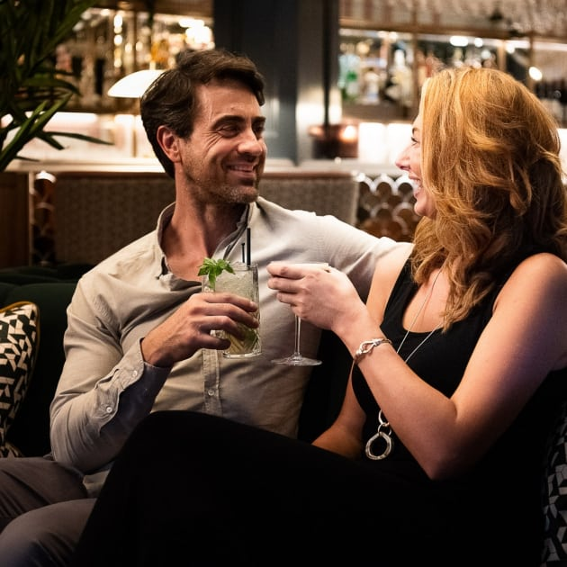 Couple enjoying a cocktail in the Twilight Bar